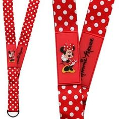 Disney Lanyard - Minnie Mouse WDW Red with White Polka Dots  $16