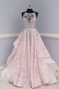 Pink Lace Backless Long Round Neck Customize Formal Prom Dress, Pink Evening Dress ,Long Evening Dress,Custom Made Princess Prom Dresses, Pretty Prom Dresses, Prom Dresses 2018, Tulle Prom Dress, Quinceanera Dresses, Dress Lace, Dress Wedding, Lace Wedding, Unique Colored Wedding Dresses