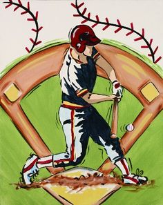 Baseball Canvas-Baseball Canvaskids canvas artwork, hand painted art, wall art, baby room decor, room decor,kids paintings,canvas art,baby a...