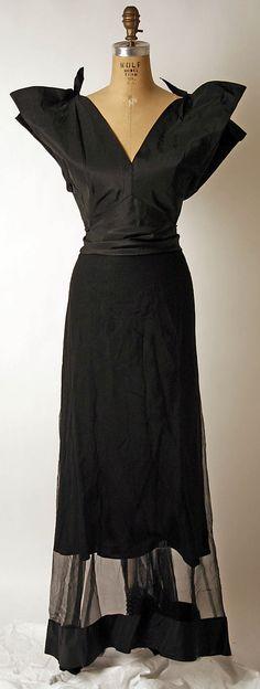 1930s silk evening dress by Nettie Rosenstein, American.