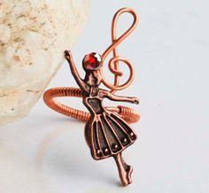 Dancing Ballet Girl Treble Clef Note Copper by jeanninehandmade, $4.50