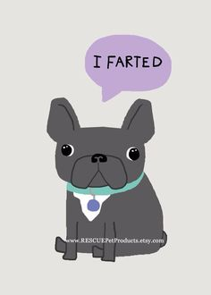 """I Farted"", the True Confessions of a French Bulldog, illustration."