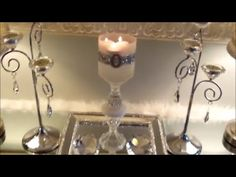 DIY Dazzling Glam Candle Holder All 99 Cent Products. See how simple it is to make a stunning candle decor for your home using all 99 cent store products! -~-~~-~~~-~~-~- Please watch: Flower Mirror Box, Dollar Store DIY . Diy Interior, Flower Mirror, Mirror Box, 99 Cents, Diy Blog, Organization Hacks, Dollar Stores, Candle Sconces, Centerpieces