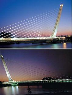 Alamillo Bridge, Seville, Spain; design by  Santiago Calatrava