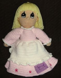 Precious moments crocheted doll with pink by GoodasGoldCrafts, $40.00