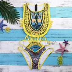 eced1b9756b57 luxury resort bohemian tribal print push-up bra swimwear beachwear set  (with removable chest pads included). Monokini SuitsColor PadAfrican  WomenBikini ...