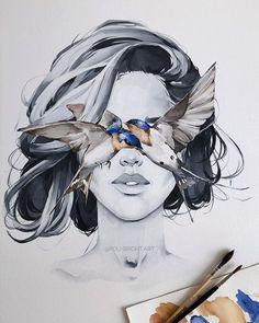 Barn Swallow blindfolded girl Art Print Hydrangea Fashion Blindfold Woman Contemporary Wall Decor Scandinavian by Polina Bright Portrait Au Crayon, Portrait Art, Art Sketches, Art Drawings, Pencil Drawings, Kreative Portraits, Barn Swallow, Bright Art, Illustrations