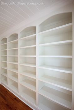 DIY: Library built-ins and Wainscoting Two Separate Full Tutorials Bookshelves Built In, Bookcases, Library Shelves, Library Room, Book Shelves, White Built Ins, Home Libraries, Home Organization, Home Projects