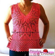 * Pérolas do Crochet: Blusa de crochet