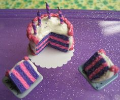 Dollhouse Miniature Polymer clay Food Alice in Wonderland Cheshire cat Birthday Cake on Etsy, $25.00