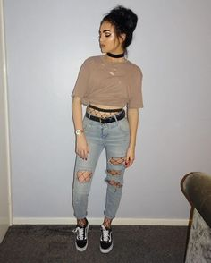 Yeezy Style Tan Crop Top +  Destroyed Jeans + Black Fishnet Tights   20+ Grunge Outfits How To Wear Fishnet Tights/Stockings Under Ripped Jeans – Lupsona