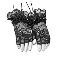 Gardenia Black Lace Gloves by Punk Rave ($19) ❤ liked on Polyvore featuring accessories, gloves, punk gloves, punk rock gloves and lace gloves