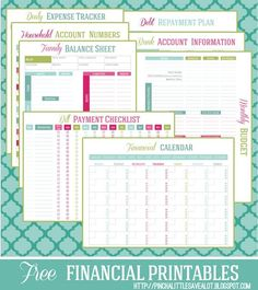 printable financial management planners & trackers ~ FREE & editable ~ moneysavingsmom.com from april 24, 2013 post ~ expense tracker, budget, balance sheet, payment checklist, financial calendar etc...