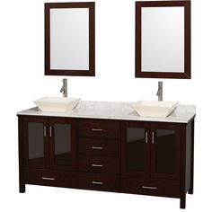 The Lucy 72-inch espresso double bathroom vanity is as beautiful as it is functional. The modern design puts a visual emphasis on clean lines, luxurious natural marble, abundant storage for two, and is at home in almost every bathroom decor.