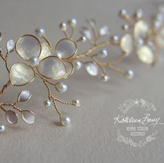 Handmade Wedding Bridal hair accessories and jewelry by KathleenBarryJewelry Browse unique items from KathleenBarryJewelry on Etsy, a global marketplace of handmade, vintage and creative goods. This Gold Champagne Bridal hair vine iridescent pearl leaves Diy Accessoires, Bridal Hair Vine, Wedding Veils, Bridal Headpieces, Bijoux Diy, Wedding Hair Accessories, Wedding Jewelry, Handmade Wedding, Hair Jewelry