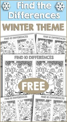 This set of free Winter Theme Find the Difference printables is great for preschool, Kindergarten and elementary students. activities Winter Theme Find the Differences FREE Printables Winter Activities For Kids, Holiday Activities, Classroom Activities, Preschool Winter, Kindergarten Worksheets, Preschool Kindergarten, Winter Thema, Nouvel An, Home Schooling