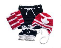MAPLE LEAF HOCKEY Grandmabilt Crochet Hockey, Baby Boy Hockey, Team Canada Hockey, Crochet Hockey Outfit, Hockey Baby Knit Hat, Knit Skates by Grandmabilt on Etsy