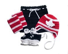 MAPLE LEAF HOCKEY Grandmabilt Crochet Hockey, Baby Boy Hockey, Team Canada Hockey, Crochet Hockey Outfit, Hockey Baby Knit Hat, Knit Skates by Grandmabilt on Etsy