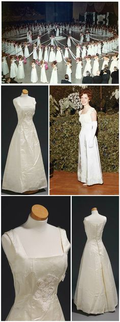 """Debutante dress, by Willie Otey Kay, 1967. Worn by Elizabeth White to the North Carolina Debutante Ball in 1967 and also for her own wedding six years later. Courtesy of Mrs. Elizabeth White Converse. Debutante photos (including photo of Elizabeth White wearing the dress), 1967. Courtesy of Burnie Batchelor Studio, Raleigh, NC. Via the online exhibit """"Made Especially for You"""" (madeespeciallyforyou.org)."""