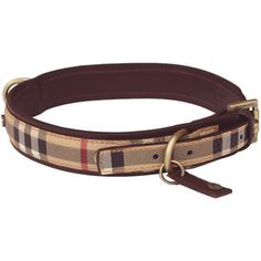The Burberry Classic Check Dog Collar with burgundy leather trimming...