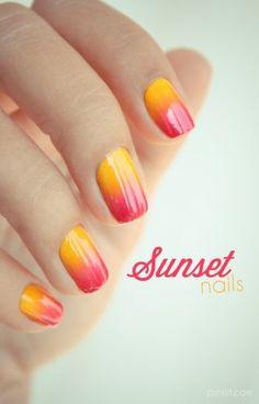 Sunset nails   Ombré Sunset Inspiration nail art