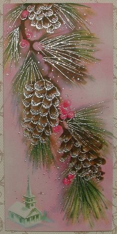 Silvered - Pine Cones, Church on PINK - Vintage Christmas Greeting Card Old Time Christmas, Beautiful Christmas Cards, Little Christmas Trees, Christmas Past, Vintage Christmas Cards, Retro Christmas, Christmas Images, Christmas Greeting Cards, Christmas Greetings