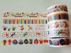 Birthday Washi Tape in 5 Patterns by GoatGirlMH on Etsy