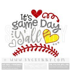Its Game Day Yall SVG / softball svg softball shirts / Softball Mom Shirts, Softball Gifts, Cheerleading Gifts, Cheer Gifts, Girls Softball, Softball Things, Softball Quotes, Softball Stuff, Cheer Mom