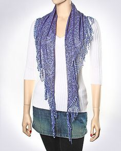 Flower & Paisley Printed Woven Triangle Scarf / PURPLE