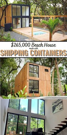 Container Cabin, Square Meter, Shipping Container Homes, House Made, Beach House, Pergola, New Homes, Outdoor Structures, Deco