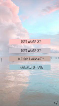 — Don't wanna cry - Seventeen [Lyrics wallpaper or lockscreen] Jeonghan, Wonwoo, Woozi, K Wallpaper, Tumblr Wallpaper, Aesthetic Iphone Wallpaper, Wallpaper Quotes, Wallpaper Backgrounds, Disney Wallpaper
