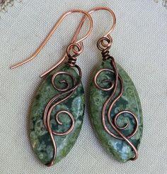 Artisan Rainforest Jasper Earrings Copper Marquise Green Rhyolite | OwlHollowStudio - Jewelry on ArtFire - I like the simple wrap! Cute earrings!
