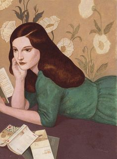 Illustrator Pierre Mornet also from Vanessa's Livres jeunesse et illustrated. The design and colors are so lovely. Why are two books open at the same time? Is that an art gallery brochure near her elbow?