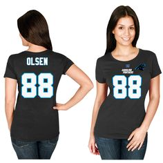 Greg Olsen Carolina Panthers Majestic Women's Fair Catch V-Neck Name & Number T-Shirt - Black - $23.99
