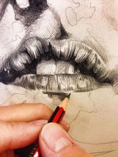 Awesome drawing style - Gabriel Moreno zoom in hatching cross hatching portrait