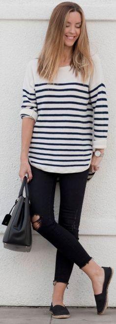 Sailor stripe sweater, black ripped jeans, black handbag, black espadrilles    L.A. MADDE #sailor