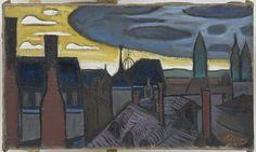 """Hans Körnig. Blick über Dächer (Stadtbild). Öl auf Leinwand, 1953. Blick aus Hans Körnigs Atelierfenster Wallgäßchen 1b. Die sogenannte """"Zitronenpresse"""" (Kuppel der Kunstakademie) ist im Hintergrund zu sehen. © Repro: Museum Körnigreich"""