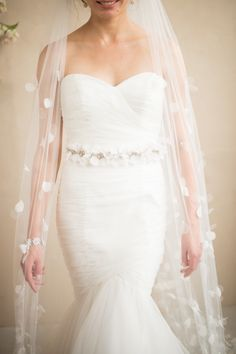 Tulle & Organza Flower Petal Cathedral Veil