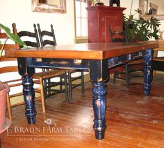 "Distressing the legs adds visual interest to this 3"" thick-top farm table - E. Braun farm Tables and Furniture  - We use wood from dismantled barns and log homes dating from the 1800's to early 1900's to create rustic, one-of-a-kind, reclaimed barn wood furniture, in the heart of Amish Country, Lancaster, PA. Custom orders are our specialty. Visit our showroom located in Intercourse, PA. www.braunfarmtables.com, www.Facebook.com/braun.farmtables"