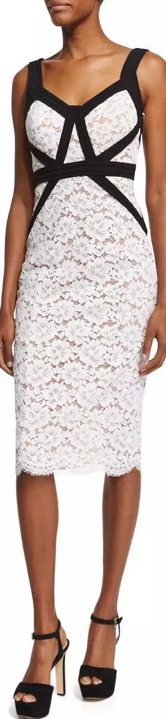 Michael Kors Collection Gardenia Lace Sheath Dress W/Contrast Trim