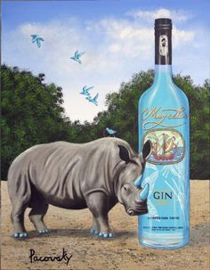 Magellan Blue Gin. Unlike Bombay Gin bottle, this bottle is colourless but gin is actually blue in colour!