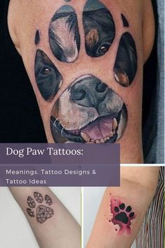 Dog paws are a cute, meaningful design that can be done in so many ways. If you're a dog lover, you really can't go wrong. Not sure how best to honor your doggo? Check out our dog paw tattoo gallery for designs that will have you wagging your tail. Unique Tattoos For Women, Cool Tattoos For Guys, Cool Small Tattoos, Color Tattoos, Cool Forearm Tattoos, Best Tattoo Designs, Tattoos Gallery, Dog Paws, Animal Tattoos