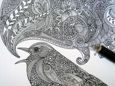Feeling Inspired, Original and Inspirational Art by Valentina Ramos: One bird, Four Drawings