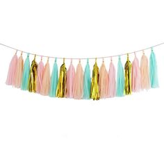 Amazon.com: Tassel Garland, Tissue Paper Tassels for Wedding, Baby Shower, Event & Party Supplies, 20 pcs DIY Kits (Mint + Light Pink + Hot Pink + Gold Mylar)