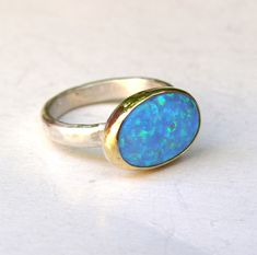 10 mm Round Rainbow Mystic Topaz Ocean Blue Fire Opal Silver ring US Taille 7 8 9