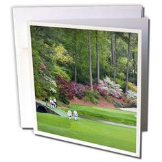 #Golf - #Masters - Amen Corner in Augusta Georgia - Golfers on Bridge - Greeting Cards-6 Greeting Cards #amencorner #greenjacket
