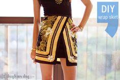 DIY Scarf Print Wrap Skirt