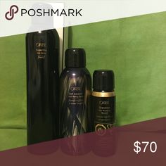 Oribe Bundle:Hair Spray,Heat Styling Spray, Mousse Luxury Products for Hair ! New, never opened !               1) Oribe Superfine Hair Spray 9 oz : Hold Level 3 ! ( Retail Price 36$ )                                                                                         2) Oribe Soft Lacquer Heat Styling Spray 5.5 oz ( Retail Price 36$ )                                                                                     3)Oribe Grandiose Hair Plumping Mousse 2.5 oz ( Retail Price 22$ )…