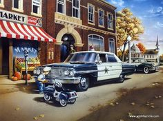 Reminiscent of Mayberry, the boy seems to be writing a ticket for the police car. He probably can't wait to grow up and trade his pedal car in for the real thing. This print ON THE BEAT is available i