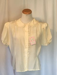 Vintage Diane Young Dressy Blouse Cream Color with Puff Sleeves  Covered Buttons Short Sleeve Tissue Faille 1950's Deadstock NOS Size M by tiffanyroseantiques on Etsy